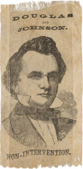 Political:Ribbons & Badges, Stephen A. Douglas: An Important and Highly Distinctive Unlisted 1860 Silk Ribbon....