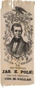 Political:Ribbons & Badges, James K. Polk: Arguably the Most Attractive Silk Ribbon Design for This Tough 1844 Candidate....