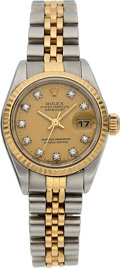 Timepieces:Wristwatch, Rolex Lady's Ref. 69173 Diamond Dial Two Tone Oyster Perpetual Datejust, circa 1985. ...