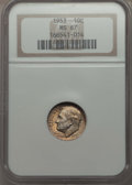 Roosevelt Dimes, 1953 10C MS67 NGC. This lot will also include the following: 1955 10C MS67 NGC; and a 1957 10C MS67 NGC. ... (Total: 3 coins)