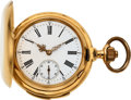 Timepieces:Pocket (post 1900), Swiss 18k Gold Minute Repeater, Original Box, circa 1900. ...