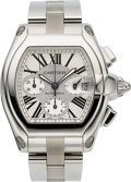Timepieces:Wristwatch, Cartier Ref. 2618 Large Stainless Steel Roadster Chronograph. ...