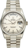 Timepieces:Wristwatch, Rolex Ref. 118206 Platinum Oyster Perpetual Day-Date, circa 2001. ...