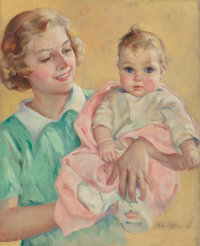 Eleanor Campbell (American, 20th Century) Introducing Baby Oil on canvas 21 x 26 in. Signed lo