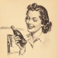 Mainstream Illustration, Gil Elvgren (American, 1914-1980). A Refreshing Drink, Coca Colaadvertisement Preliminary. Charcoal on board. 19.5 x 17...
