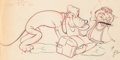 Animation Art:Production Drawing, Beach Picnic Donald Duck and Pluto Animation Drawing (WaltDisney, 1939). ...