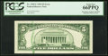 Error Notes:Ink Smears, Ink Smear on Back Error Fr. 1969-C $5 1969 Federal Reserve Note.PCGS Gem New 66PPQ.. ...