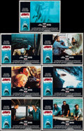 """Movie Posters:Horror, Jaws (Universal, 1975). Lobby Cards (7) (11"""" X 14"""") & Uncut Pressbook (18 Pages, 11"""" X 8.5""""). Horror.. ... (Total: 2 Items)"""