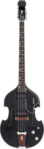 Musical Instruments:Bass Guitars, Circa 1970's Univox Violin Scroll Black Electric Bass Guitar, Serial #2286962....