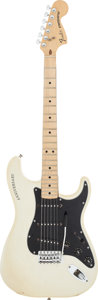Musical Instruments:Electric Guitars, 25th Anniversary Fender Stratocaster White Pearlescent Solid BodyElectric Guitar, Serial #250680....