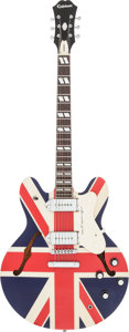 Musical Instruments:Electric Guitars, 2011 Epiphone Supernova Union Jack Semi-Hollow Body ElectricGuitar, Serial # 104111654....