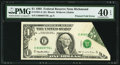Error Notes:Foldovers, Printed Fold Error Fr. 1921-E $1 1995 Federal Reserve Note. PMGExtremely Fine 40 EPQ.. ...
