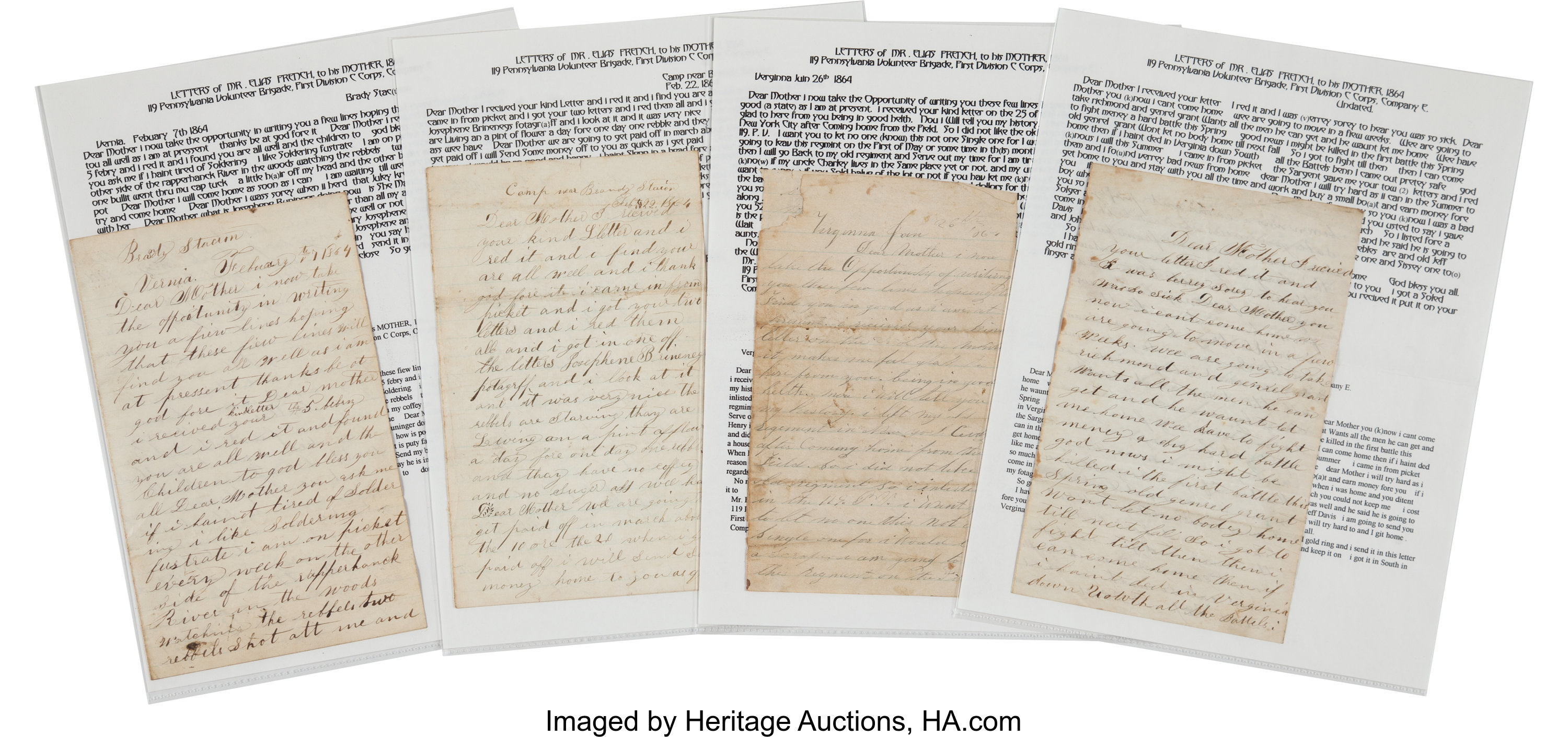 Elias French Autograph Letters (4) Signed     (Total: 4