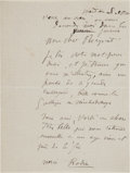 Autographs:Artists, Auguste Rodin Autograph Letter Signed. ...