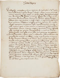 Miscellaneous, Manuscript Fair Copy of Papal Brief Issued by Sixtus VExcommunicating Henry IV of France. ...