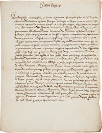 Manuscript Fair Copy of Papal Brief Issued by Sixtus V Excommunicating Henry IV of France