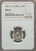 German East Africa, German East Africa: Wilhelm II 1/4 Rupie 1891 MS64 NGC,...