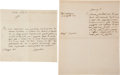 """Autographs, Pope Gregory XVI Autograph Letter Signed """"Capellari"""" andAutograph Letter (unsigned) as Pope. ..."""