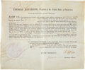Autographs:U.S. Presidents, Thomas Jefferson and James Madison Document Signed....