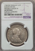 German States:Saxony, German States: Saxony. Friedrich August III 2/3 Taler 1768-EDC AU Details (Surface Hairlines) NGC,...