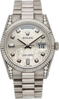 Timepieces:Wristwatch, Rolex Very Fine Ref. 118339 Gent's White Gold & DiamondDay-Date. ...