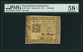 Colonial Notes:Pennsylvania, Pennsylvania October 25, 1775 5s PMG Choice About Unc 58 EPQ.. ...