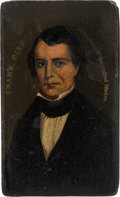 Political:3D & Other Display (pre-1896), Franklin Pierce: Highly Important Rectangular Snuff Box with Hinged Lid. ...