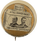 """Political:Pinback Buttons (1896-present), McKinley and Roosevelt: Rare 1 ¼"""" Dinner Bucket Jugate with Gold Background. ..."""