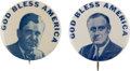 """Political:Posters & Broadsides (1896-present), Wendell Willkie and Franklin D. Roosevelt: A Very Rare Matched Pairof 1 ¼"""" Pinbacks...."""