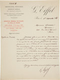 Autographs, Gustave Eiffel Letter Signed. ...