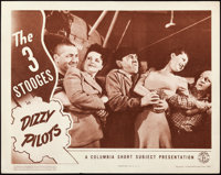 """The Three Stooges in Dizzy Pilots (Columbia, 1943). Lobby Card (11"""" X 14"""")"""