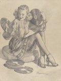 Mainstream Illustration, Gil Elvgren (American, 1914-1980). Now Here's a Cute LittleNumber preliminary. Charcoal on vellum. 23.75 x 17.75 in. (s...