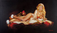 Gennadiy Koufay (Russian, b. 1961) Glamorous Pin-Up Mixed media on canvas 19 x 32 in. Signed l