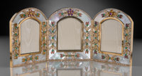 An Asprey 18K Gold, Diamond, Mother-of-Pearl, and Gemstone Tri-Fold Frame, London, 20th century Marks: Asprey</...