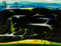 Eyvind Earle (American, 1916-2000) Horse Country, 1997 Oil on board 18 x 24 inches (45.7 x 61.0 c