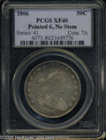 Early Half Dollars: , 1806 50C Pointed 6, No Stem XF40 PCGS. PCGS Population: (4/75). ...