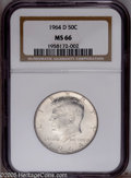 Kennedy Half Dollars: , 1964-D 50C MS66 NGC. NGC Census: (62/9). Mintage: 156,205,440.Numismedia Wsl. Price: $40. (#6707)...