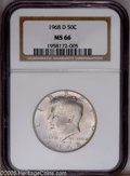 Kennedy Half Dollars: , 1968-D 50C MS66 NGC. NGC Census: (75/7). Mintage: 246,951,936.Numismedia Wsl. Price: $32. (#6711)...
