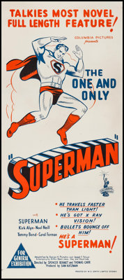 "Superman (Columbia, 1948). Australian Daybill (13.25"" X 30""). Serial"