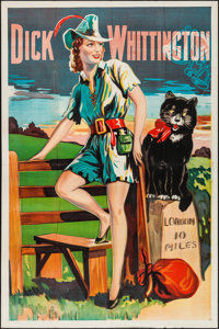 "Pantomime Theatre - Dick Whittington (c.1930s). British Theater Poster (40"" X 60""). Flat Folded"