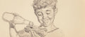 Mainstream Illustration, Gil Elvgren (American, 1914-1980). Young Boy, Heinz Ketchupadvertisement preliminary. Pencil on board. 12 x 27 in. (ima...