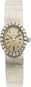 Timepieces:Wristwatch, Rolex 14k White Gold & Diamond Wristwatch Non OriginalMovement. ...