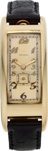Timepieces:Wristwatch, Movado Rare & Unusual Ref. 44009 Gold Polyplan Wristwatch,circa 1915. ...
