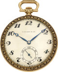 Timepieces:Pocket (post 1900), Tiffany & Co. 18K Gold Pocket Watch By International Watch Co., circa 1915. ...