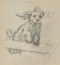 Mainstream Illustration, Gil Elvgren (American, 1914-1980). Happy Puppy, study for Waitfor Me. Charcoal on vellum. 8.5 x 8 in.. Not signed. ...