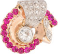 Estate Jewelry:Rings, Retro Diamond, Synthetic Ruby, Rose Gold, Palladium Ring . ...