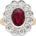 Estate Jewelry:Rings, Ruby, Diamond, Gold Ring The ring centers an o...