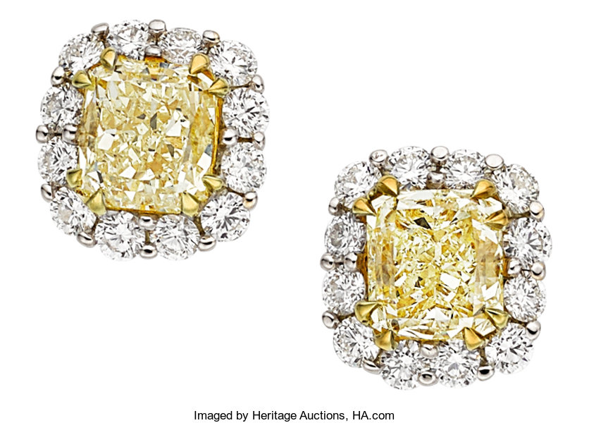 Estate Jewelry Earrings Colored Diamond Gold
