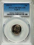 Proof Roosevelt Dimes, 1981-S 10C Type Two PR70 Deep Cameo PCGS. PCGS Population: (148).NGC Census: (74)....