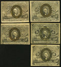 Fractional Currency:Second Issue, Second Issue Notes Very Good or Better.. Fr. 1232 5¢ (2);. Fr. 1244 10¢;. Fr. 1284 25¢;. Fr. 1316 50¢.. ... (Total: 5 notes)